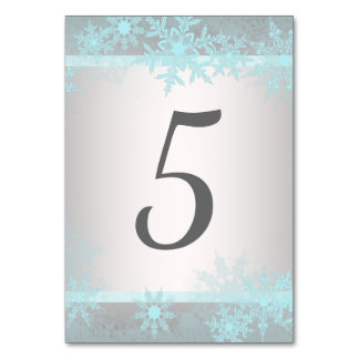 Silver Teal Blue Snowflake Table Number Cards