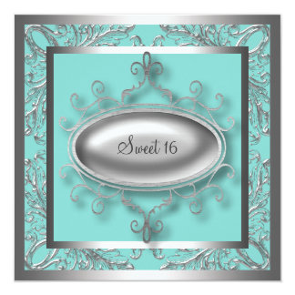 Silver Teal Blue Sweet 16 Birthday Party Invites