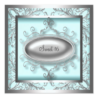 Silver Teal Blue Sweet 16 Birthday Party Invitation