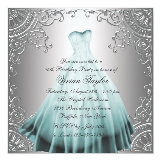 Silver Teal Blue Sweet Sixteen Birthday Party Card