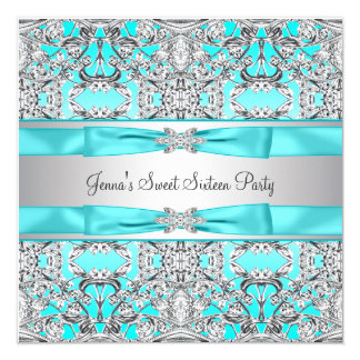 """Silver Teal Blue Sweet Sixteen Party 5.25"""" Square Invitation Card"""