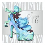 Silver Teal Blue Zebra Sweet 16 Birthday Party 5.25x5.25 Square Paper Invitation Card