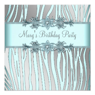 Silver Teal Blue Zebra Womans Birthday Party Card