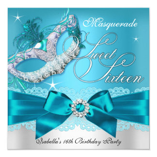 Silver Teal Bow Masquerade Sweet Sixteen Invite