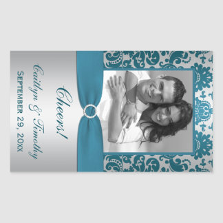 Silver.Teal Damask Photo Wine Label Sticker