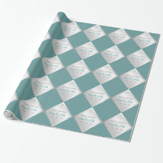 Silver Teal Diamond Wedding Gift Wrapping Paper