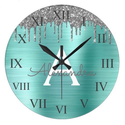 Silver Teal Glitter Brushed Metal Monogram Name Large Clock