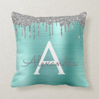 Silver Teal Glitter Brushed Metal Monogram Name Throw Pillow