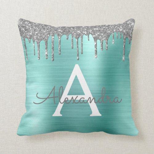 Silver Teal Glitter Brushed Metal Monogram Name Throw Pillow