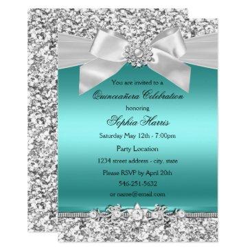 Zizzago Silver Teal Glitter & Jewel Bow Quinceanera Card