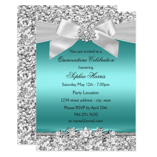 Quinceaera invitations zazzle silver teal glitter amp jewel bow quinceanera card stopboris Choice Image
