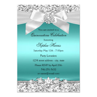 Silver Teal Glitter & Jewel Bow Quinceanera Card