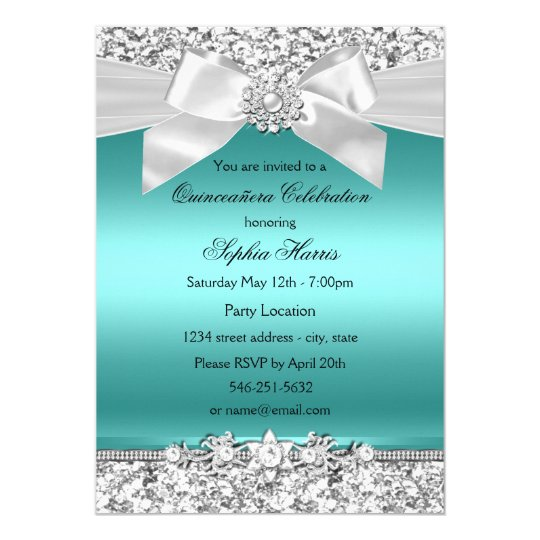 Silver Teal Glitter & Jewel Bow Quinceanera Card | Zazzle.com