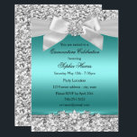 """Silver Teal Glitter & Jewel Bow Quinceanera Invitation<br><div class=""""desc"""">Silver & Teal Quinceañera Party Invitation. Pretty Silver glitter & diamond jewel bow. Please note: All flat images!</div>"""