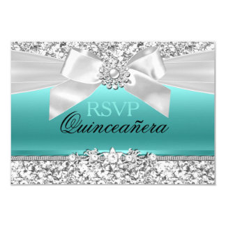 Silver Teal Glitter & Jewel Bow Quinceanera RSVP 3.5x5 Paper Invitation Card