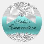 Silver Teal Glitter & Jewel Bow Sticker