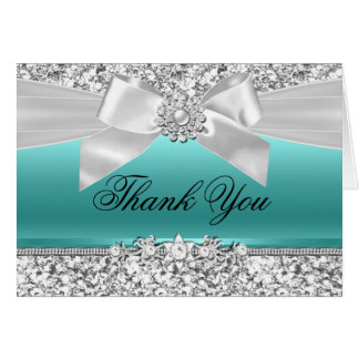Silver Teal Glitter & Jewel Bow Thank You Card