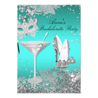 Silver Teal Mask & Jewel Lace Bachelorette Party Card