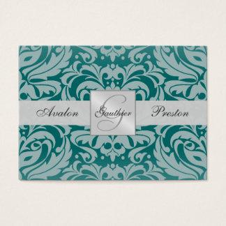 Silver & Teal Monogram Damask Wedding RSVP Card