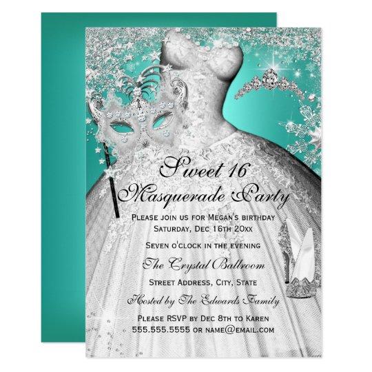 Silver Teal Princess Masquerade Sweet 16 Invite Zazzle