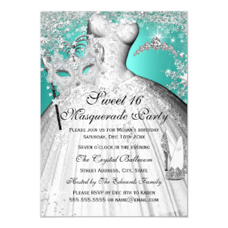 Silver Teal Princess Masquerade Sweet 16 Invite