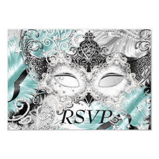 Silver Teal Sparkle Mask Masquerade Party RSVP Card