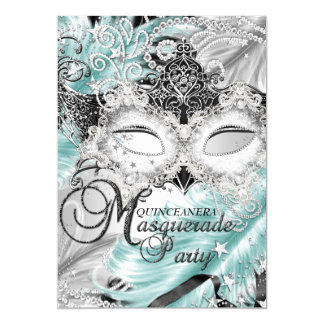 Silver Teal Sparkle Mask Masquerade Quinceanera 5x7 Paper Invitation Card