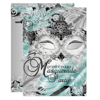 Silver Teal Sparkle Mask Masquerade Quinceanera Card
