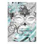 Silver Teal Sparkle Mask Masquerade Quinceanera Card