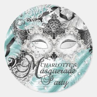 Silver Teal Sparkle Mask Masquerade Sticker