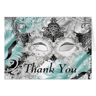 Silver Teal Sparkle Mask Masquerade Thank You Stationery Note Card