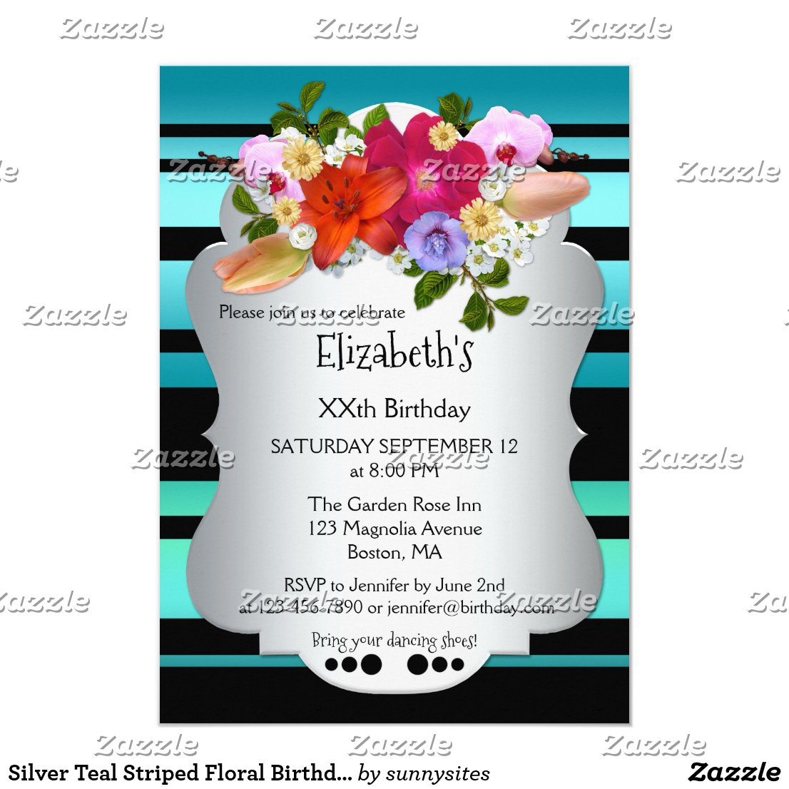 Silver Teal Striped Floral Birthday Invitation