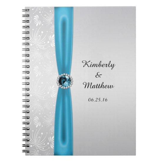 Silver Teal Sunbursts Gemstones Guest Book