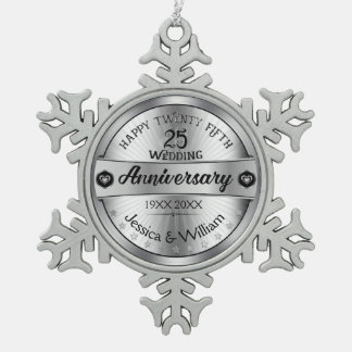 Silver & Text Design 25th Wedding Anniversary Snowflake Pewter Christmas Ornament