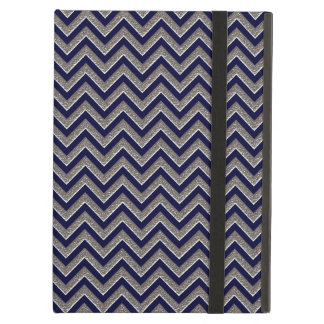 Silver Texture-Look Chevron Zigzag Printed Pattern Case For iPad Air