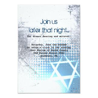 SILVER TEXTURE STAR Bar Bat Mitzvah Party Card Invite