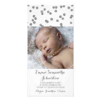 Silver Thank You Baby Shower Photo Cards