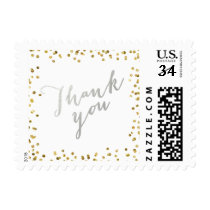 Silver Thank You Gold Glitter Glamor Postage