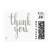 Silver thank you stamps, glitter, small postage
