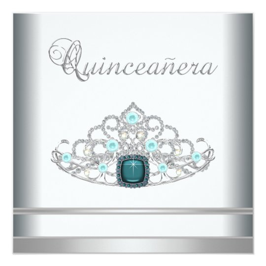 Silver Tiara Teal Blue Quinceanera Card