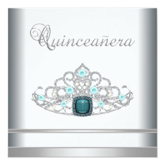 Silver Tiara Teal Blue Quinceanera Announcements