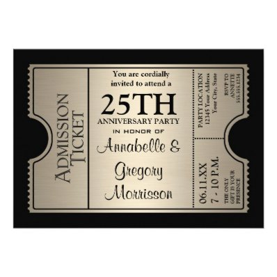 Silver Ticket Style 25th Wedding Anniversary Party Cards
