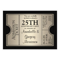Silver Ticket Style 25th Wedding Anniversary Party Cards (<em>$2.43</em>)