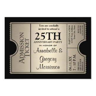 Silver Ticket Style 25th Wedding Anniversary Party 5x7 Paper Invitation Card