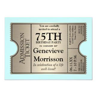 "Silver Ticket Style 75th Birthday Party Invite 5"" X 7"" Invitation Card"