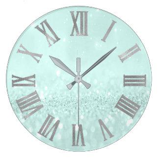 Silver Tiffany Aqua Glitter Metallic Roman Numers Large Clock