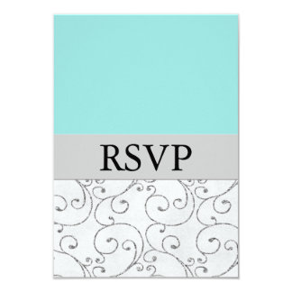 Silver Tiffany Blue Wedding RSVP Response Cards