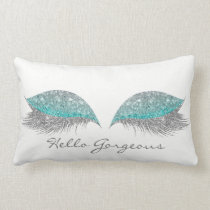 Silver Tiffany Glitter Makeup Lashes Gorgeous Lumbar Pillow