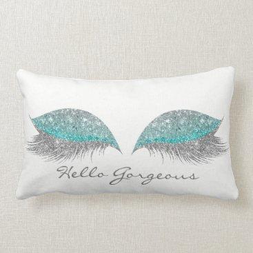 McTiffany Tiffany Aqua Silver Tiffany Glitter Makeup Lashes Gorgeous Lumbar Pillow
