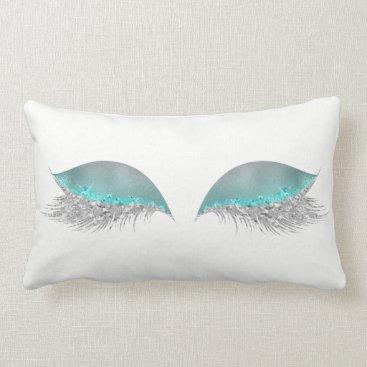 McTiffany Tiffany Aqua Silver Tiffany Ocean Ombre Glitter Makeup Lashes Lumbar Pillow